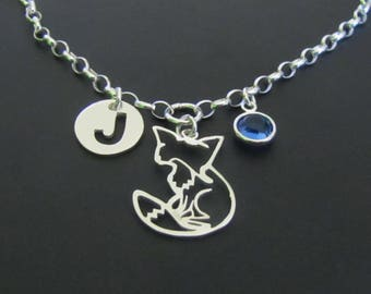 Personalized Fox Necklace, Birthstone Necklace, Initial Necklace, Sterling Silver Necklace, Jewelry, Gift for Her