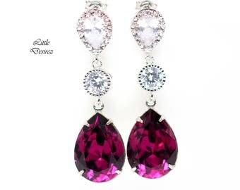 Amethyst Earrings Purple Bridal Earrings Bridesmaid Purple Earrings Swarovski Amethyst Crystal Plum Jewelry Hypoallergenic AM31PC