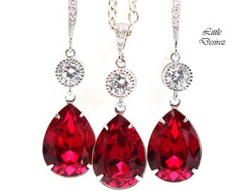 Red Earrings and Necklace Set Bridal Jewelry Bridesmaid Gift Set Swarovski Necklace Earrings Set Dark Red Earrings Holiday Jewelry SI31JS