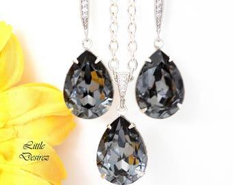Grey Earrings & Necklace Set Swarovski Jewellery Set Smoky Grey Earrings Charcoal Grey Earrings Bridesmaid Gift Silver Night Crystal SN31JS