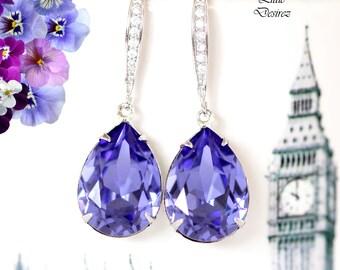 Reserved for Jeannine - Purple Earrings Tanzanite Earrings Purple Drop Earrings Swarovski Crystal Teardrop Bridesmaid Bridal Earrings TZ31H