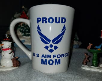 Proud Air Force Mom coffee/tea mug, soldier, America, Support or troops, Merica, USA,