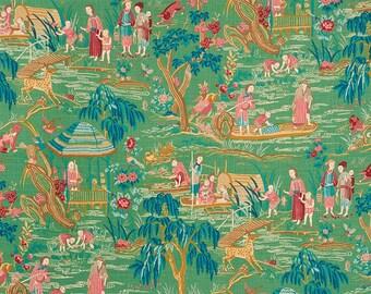 SCHUMACHER CHINOISERIE YANGTZE River Toile Fabric 10 yards Jade Green Multi