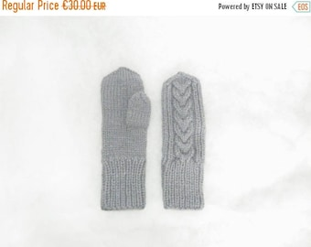 Wool mittens. Knit mittens. Grey knitted mittens. Gray hand knit accessories. Knit wool gloves. Knitted warm mittens. Wool gloves