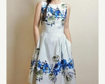 AUGUST 20 % OFF Blue Floral dress, Cotton-satin dress, Made to Order