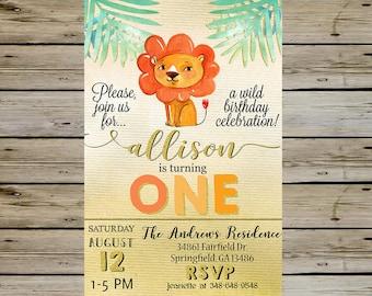 LION BIRTHDAY INVITATION - Watercolor Lion Animal In The Wild Birthday Party - Lion Birthday - Jungle Animals Birthday - Birthday Invite