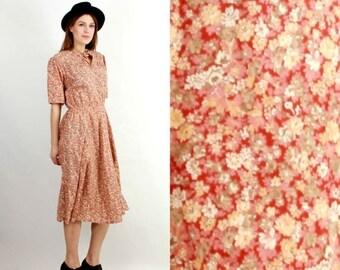 SALE Vintage Floral Dress / Bohemian Dress / Summer Dress / 70s Dress / Flared Dress / Eurofashion Dress