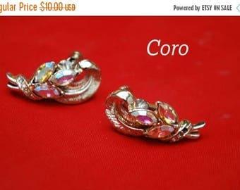 Coro Earrings Aurora Borealis Rhinestone clip on earrings