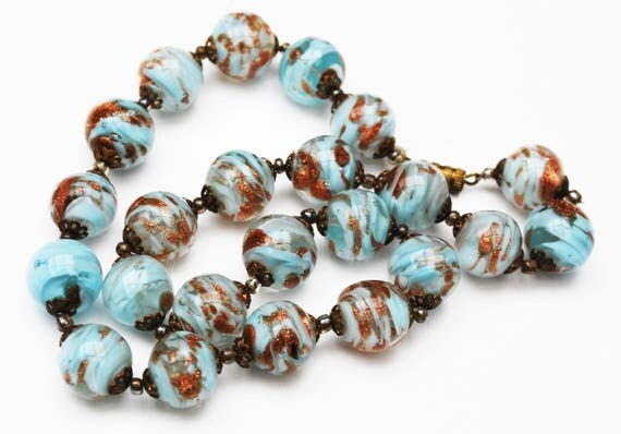 Blue Gold Glass Bead necklace- light bluish gold speckle - Art Glass -Vintage necklace