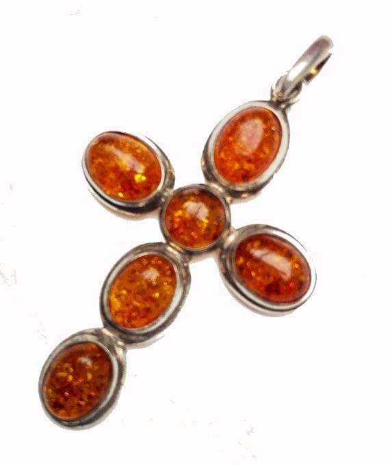 Sterling Amber Cross  Pendant - orange yellow gemstone - 925 Sterling silver