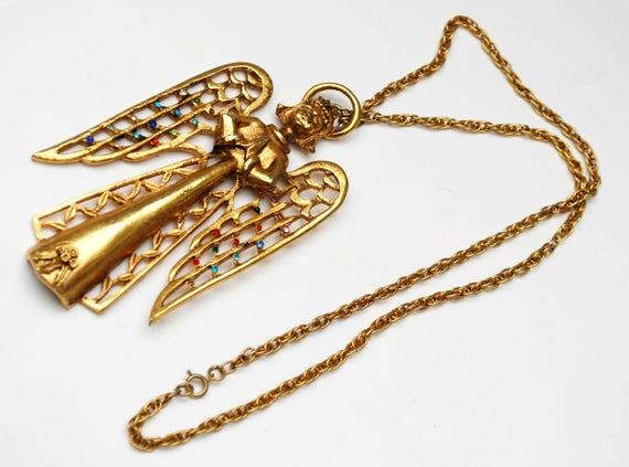Angle Necklace - Signed Beatrix - Large chunky gold Pendant - Colorful rhinestone - Holiday - Christmas