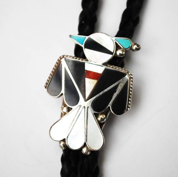 Thunderbird Bolo Tie - Gemstone inlay- Turquoise Onyx Coral Mother of Pearl - Leather - Sterling - SouthWestern - Zuni Tribal
