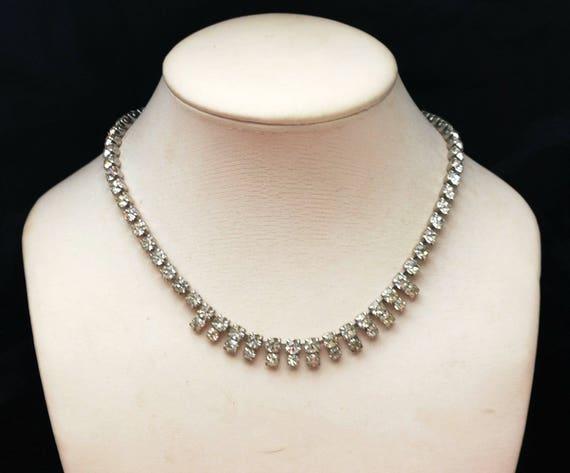 Garne Rhinestone  Necklace - Clear Crystal  - Wedding Bride Bling Necklace