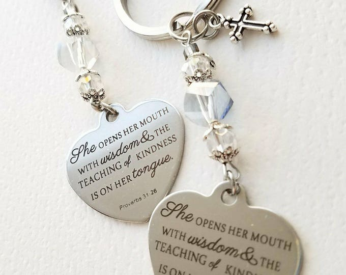 Proverbs 31 26 zipper charm keychain Christian Purse charm Christian Gift for Mother Christian Teacher Gift Religious Bible Gover Charm