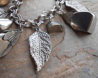 Vintage Silver Tone Chunky Leaf Chain Link Charm Bracelet