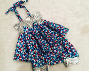 Mermaid  dress, Shorties, cotton diaper cover,  nb, size 3, 6, 9, 12, 24 months, 2T