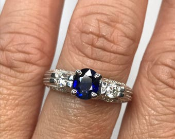 CLEARANCE Sapphire Ring with Diamond Accents