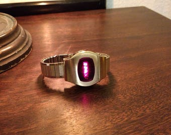 Men's 70s Armitron Red LED Watch - 10 microns gold plated bezel