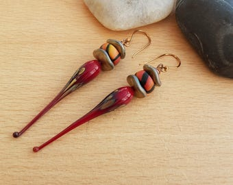 Lamp work dangle earrings, Statement earrings, Polymer clay earrings,Lamp work red beads , Lamp work charms, Women's gift, handmade gift