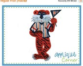 40% OFF 715 Tiger Standing Boy Mascot Football applique digital design for embroidery machine by Applique Corner