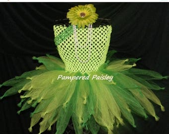 Halloween sale Fairy tutu  -  Halloween tutu - Tinkerbell inspired - Birthday costume size newborn to adult - costume