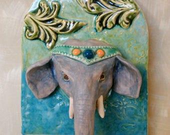 elephant small ceramic wall plaque