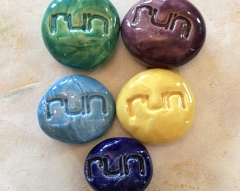 Lot of 5 RUN Pocket Stones - Inspirational Art Pieces by Inner Art Peace