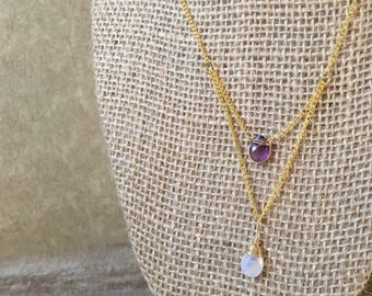 Amethyst Moonstone|Layering Necklace|Brass