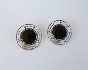 Vintage 1970's Pierced Onyx and Sterling Silver Large Circle Post Earrings