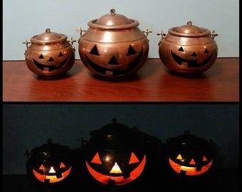 SALE - Three Copper Jack O'lanterns - Made in Turkey