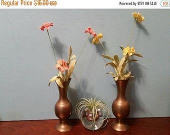 "SALE - Pair of Brass Vases - 6"""