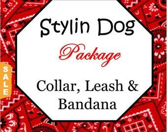 Puppy Love Sale - 40% Off Collar, Double Sided Bandana & Leash Package!, Dog Bandana - Available in all Dog Collar Listings - F
