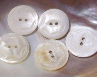 7 Vintage White Carved Mother of Pearl Buttons--Item# 655