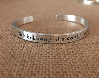 She Believed She Could So She Did Bracelet, Sterling Silver  Personalized Bracelet, Custom Bracelet, Inspirational Bracelet, 925 Custom Cuff