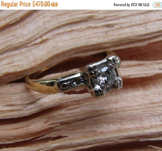DEADsy LAST GASP SALE I Only Have Eyes For You : Antique Engagement Ring - Illusion-Head Solitaire Diamond with Accents - 1940s 1950s