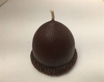 Acorn beeswax candle Brown ,large beeswax candle. 3 inches tall x 3 Wide