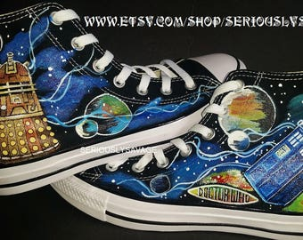 Dr. Who Galaxy Phone Box Tardis Planets Dalek Custom Painted Shoes Converse Vans Toms