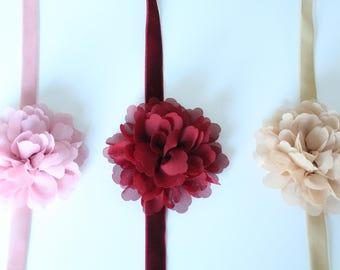 Floral Velvet Ribbon Bridal Sash