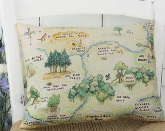 Winnie the Pooh Map Pillow Hundred Acre Wood Classic Pillow in 3 sizes for a classic Pooh Nursery or Winnie the Pooh gift