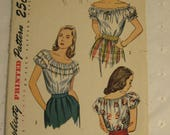 Simplicity 1940s Peasant style Womans Blouse Pattern No. 2127, Size 14, Bust 32, all pattern pieces present