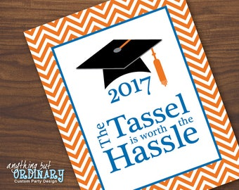 Tassle Is Worth the Hassle Graduation Sign, Printable 2017 Grad Sign in Navy and Lime Chevron, DIY digital file