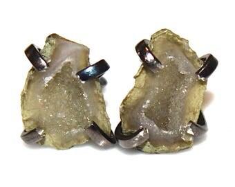 Tiny Geode Earrings Geode Jewelry Prong Set Earring Raw Gemstone Earring Druzy Earrings Drusy Earring Stone Earring Delicate Earring