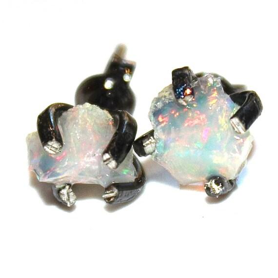 Rough Opal Earrings Raw Opal Stud Earrings Organic Earring Tumbled Opal Jewelry Natural Opal Welo Black Gold Prong Set Earring Raw Gemstones