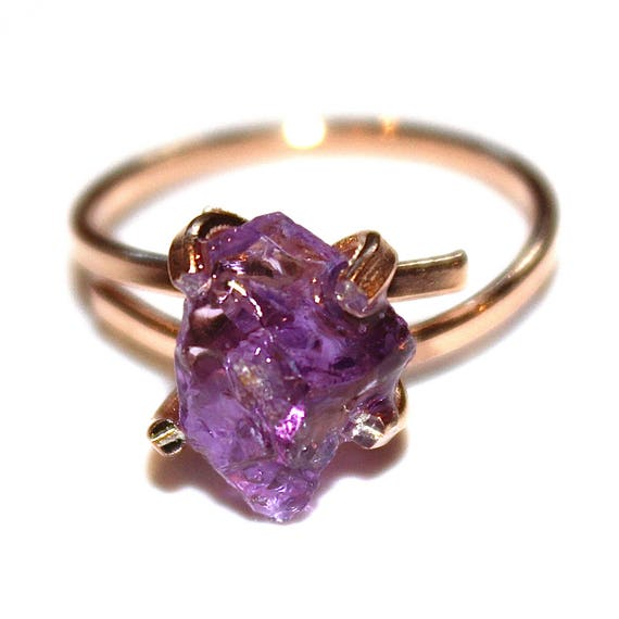 Raw Amethyst Ring in Rose Gold Ring