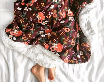 Birch Floral in Eggplant Blanket, Floral Blanket, Nursery Blanket, Rifle Paper Co, Faux Fur Blanket, Toddler Blankets