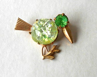 Vintage Jelly Belly Bird Brooch Pin Green & Yellow glass Gold Tone