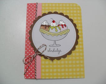 Birthday Card - Banana Split Card - Ice Cream Card - Get out and Celebrate...Lickety Split!