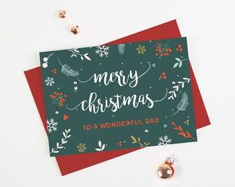 Dad Christmas Card Teal