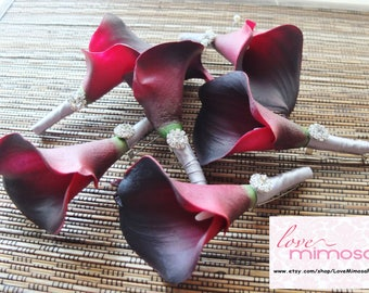 Men's Boutonniere, Burgundy Calla Lily with Silver Grey Ribbon Boutonniere, Dark Red / Wine Boutonniere