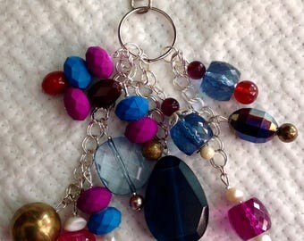 Journal & Bag Charm Beaded Cluster Dangle Keyring Key Chain Friend Gift Book Charm Handbag Purse Jewellery Pink Purple Teal Hanger Charm